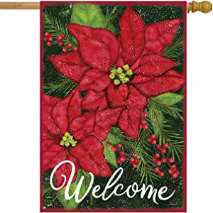 """Holiday Poinsettia Christmas House Flag Welcome Floral 28"""" x 40"""" Brairwood Lane"""