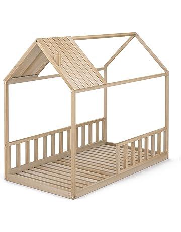 Cama Infantil Tipo Montessori, Casita Madera Natural con Barrera Barandilla, para niño y niña