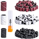 MelodySusie 300 Pcs Professional Sanding Bands with Mandrel for Nail Drill, 80 Coarse, 120 Medium, 180 Fine Grit EFile Sand P