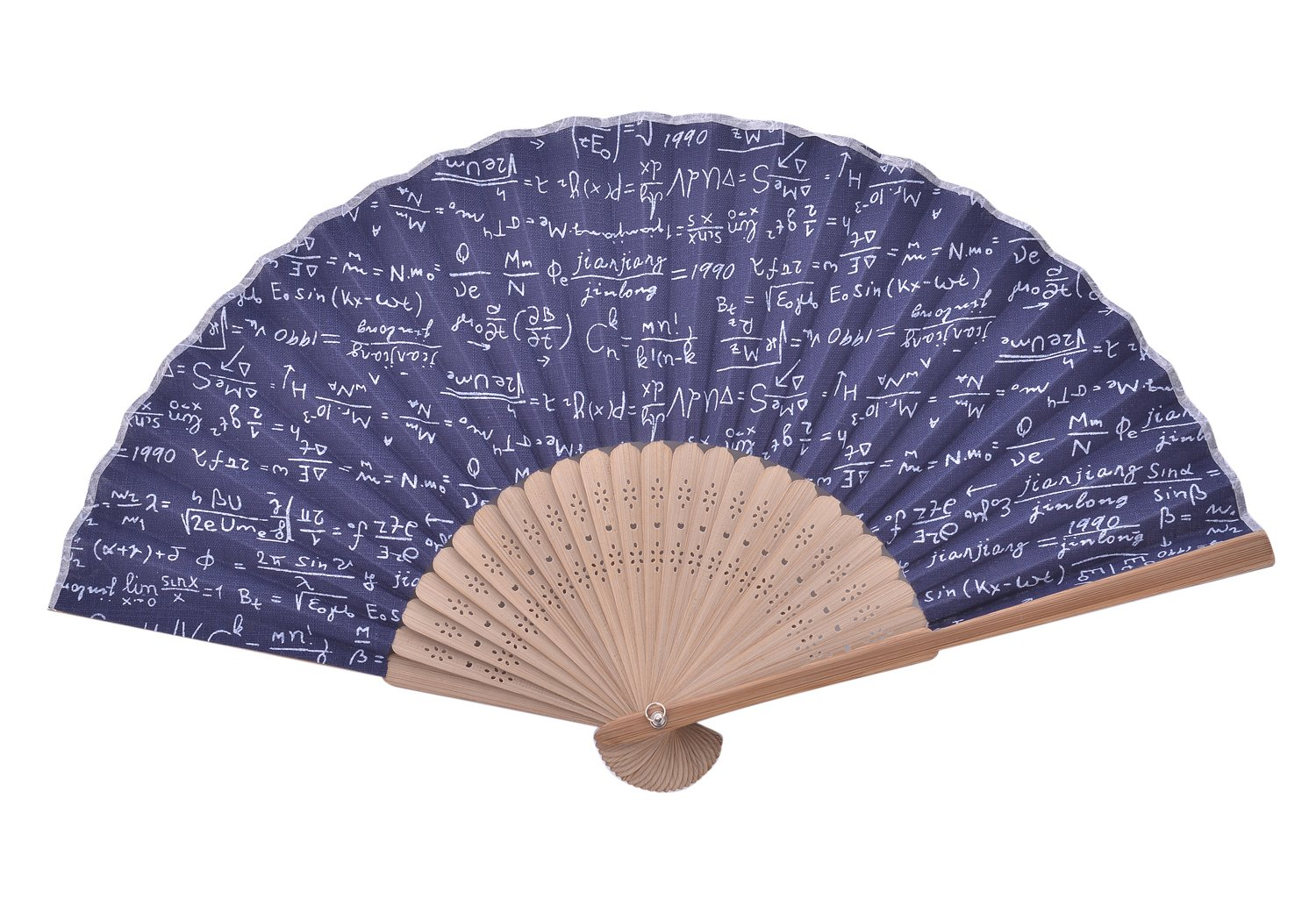 Hand Fan Bamboo Anchor Printed Folding Fan Cotton For Party Wedding Gift HandFans_Anchor