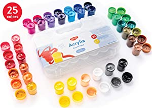 Daco Acrylic Paint Set Acrylia, Kids Art Set Includes 25 Colors 0.7 fl.oz (20ml), with Travel and Storage Box, Art Supplies for Kids, Beginners, School Paint Supplies, Painting Canvas, Finger Paint