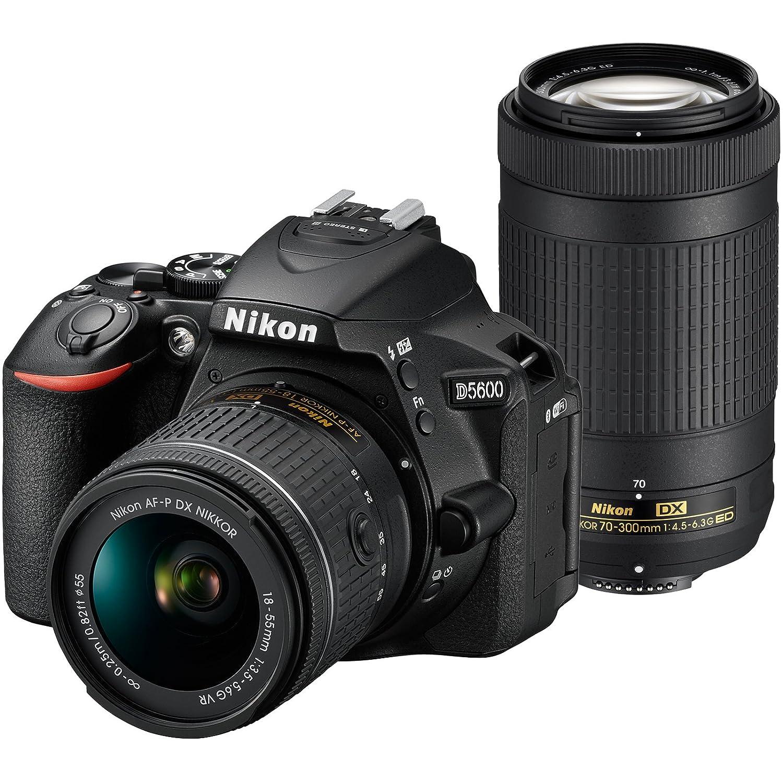 Nikon D5600 Wi-Fi Digital SLR Camera with 18-55mm VR & 70-300mm DX AF-P Lenses + 64GB Card + Case + Flash + Battery + Tripod + Tele/Wide Lens Kit