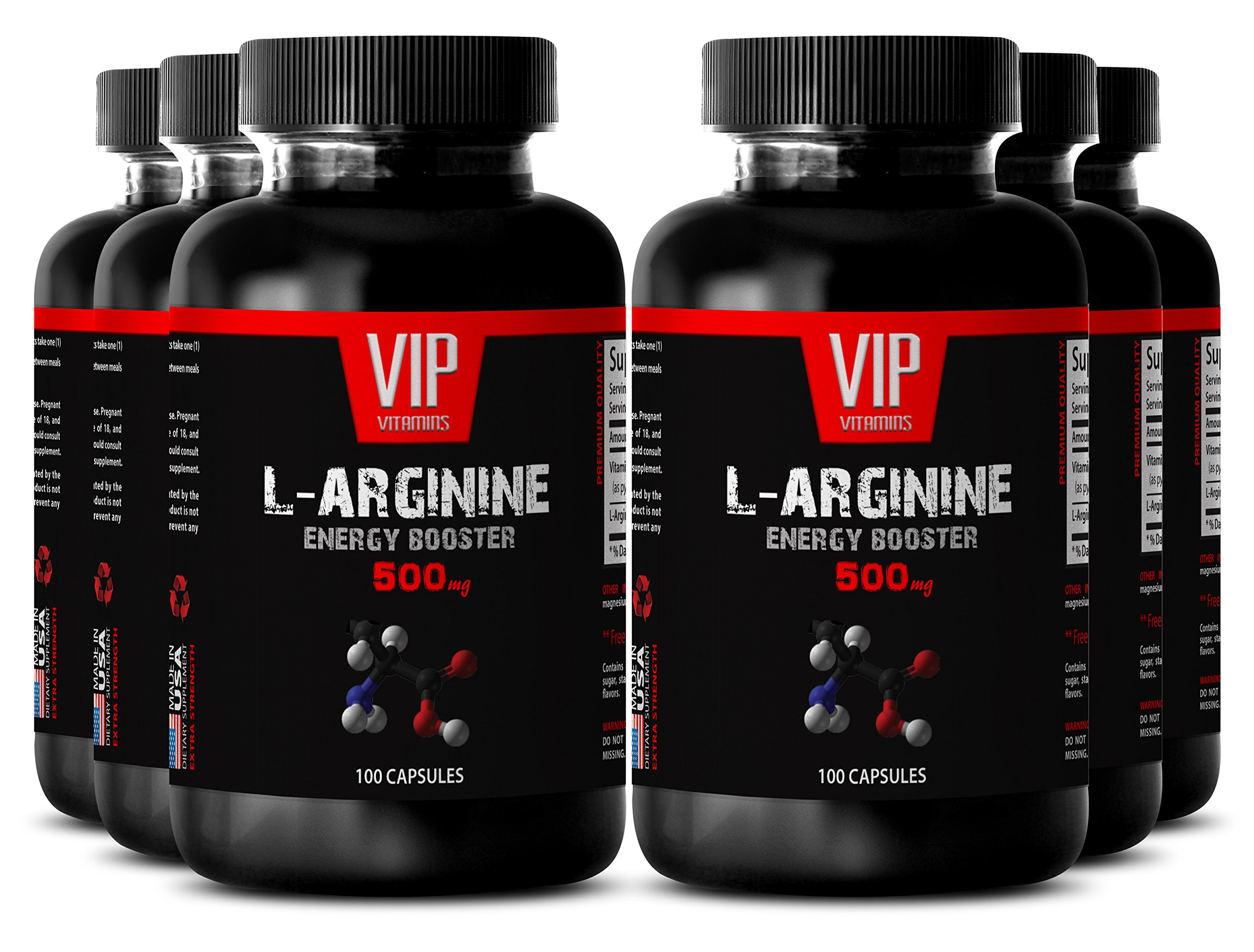 VIP VITAMINS Arginine sex - L-ARGININE Energy Booster 500 mg - Increase libido - 6 Bottles 600 Capsules