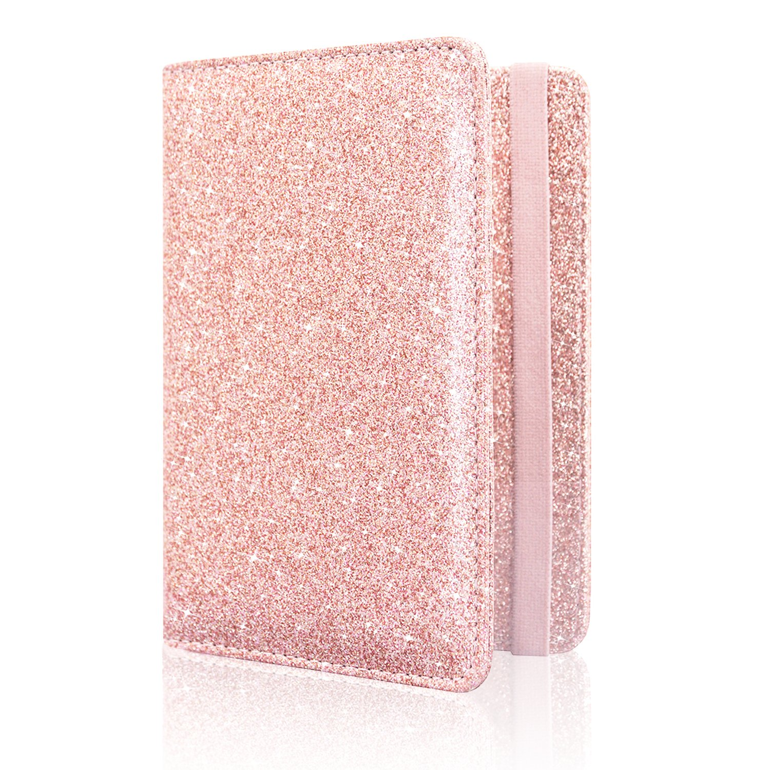 Passport Holder Cover, ACdream Travel Leather RFID Blocking Case Wallet for Passport with Elastic Band Closure, Rose Gold Glitter by ACdream (Image #5)