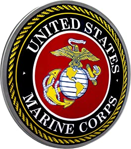 "Officially Licensed United States Marine Corps Emblem Dome Shaped Metal Sign Wall Decor for Bar, Garage or Man Cave (15"")"
