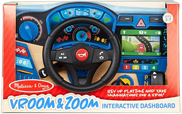 Melissa & Doug Vroom & Zoom Interactive Wooden Dashboard pretend play preschool learning toy for kids in package