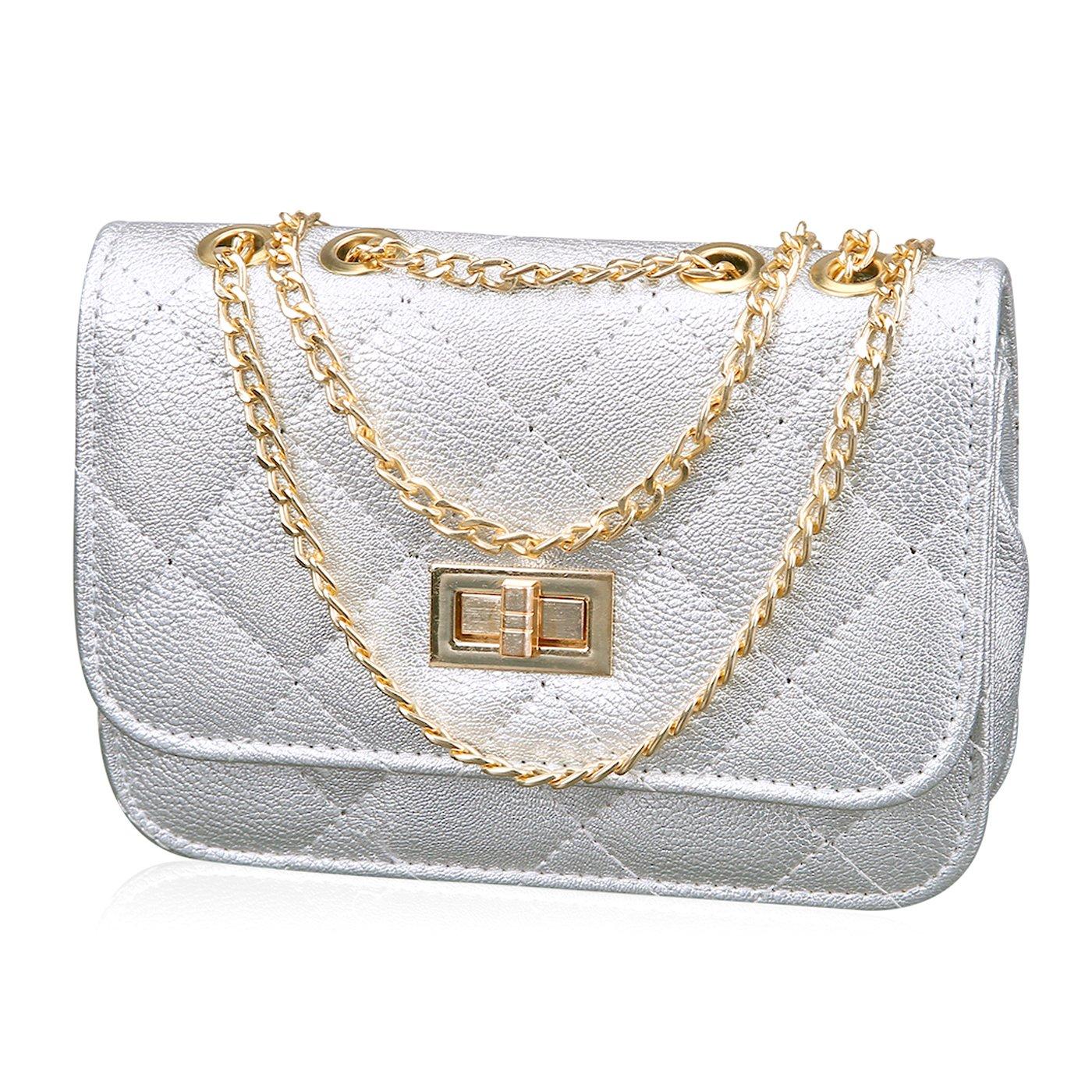 HDE Women's Small Crossbody Handbag Purse Bag with Chain Shoulder Strap (Silver)