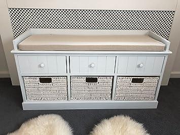 Panca Contenitore Bianca : Cassapanca portaoggetti bianca con cassetti in vimini e cuscino