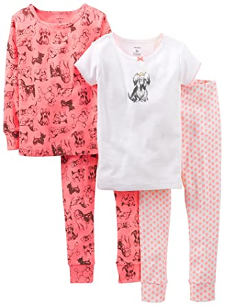 6624062b4f6a Amazon.com  Carters Girls Toddler 4-pc. Puppy Dog Pajama Set 2T Pink ...