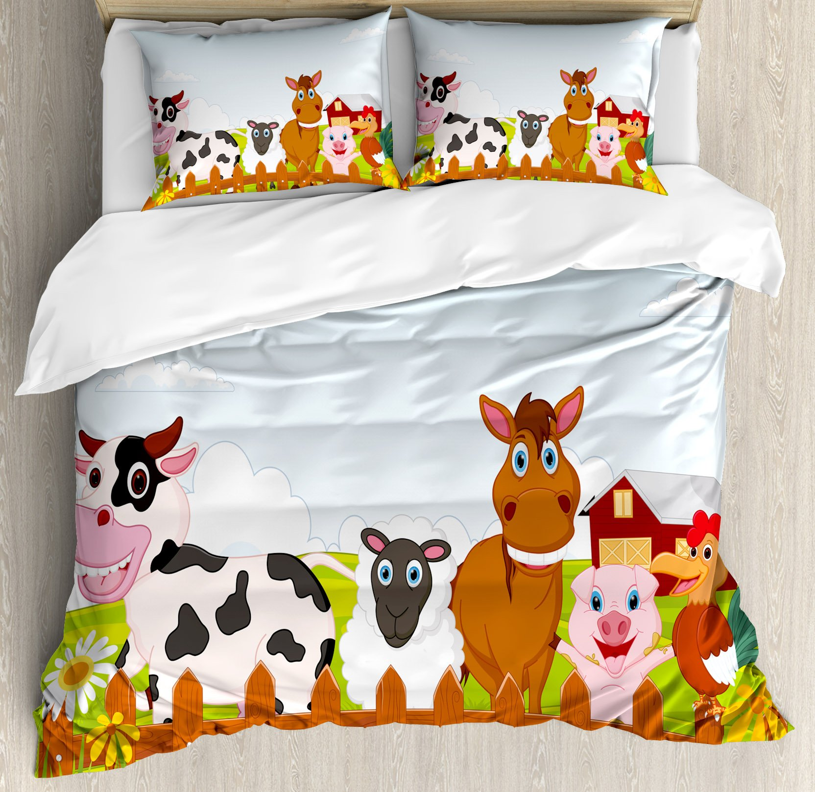 Animal Duvet Cover Set Queen Size by Ambesonne, Cute Farm Creatures with Cow Horse Goat Pig and Chicken by the Fences Kids Cartoon, Decorative 3 Piece Bedding Set with 2 Pillow Shams, Multicolor