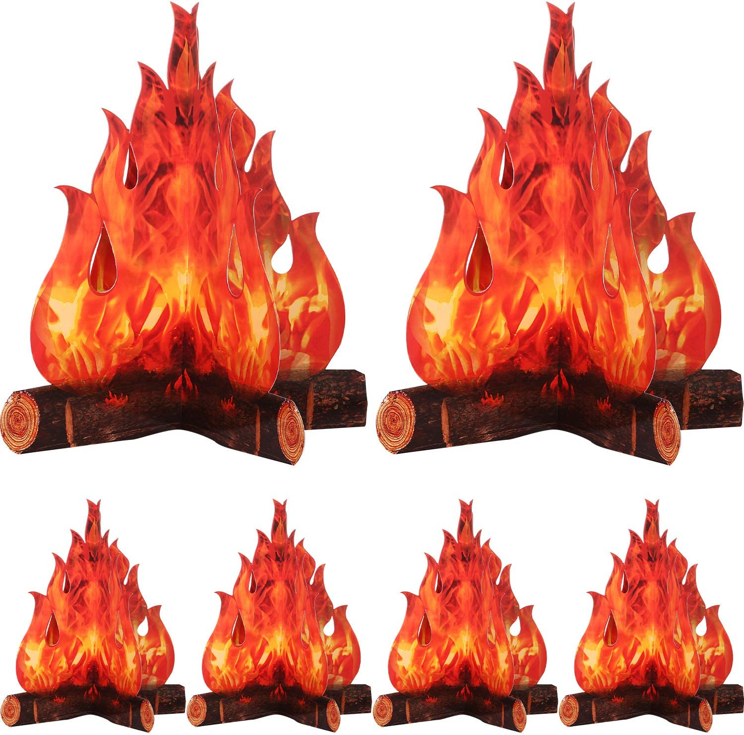 3D Decorative Cardboard Campfire Centerpiece Artificial Fire Fake Flame Paper Party Decorative Flame Torch (Red Orange, 6 Set)