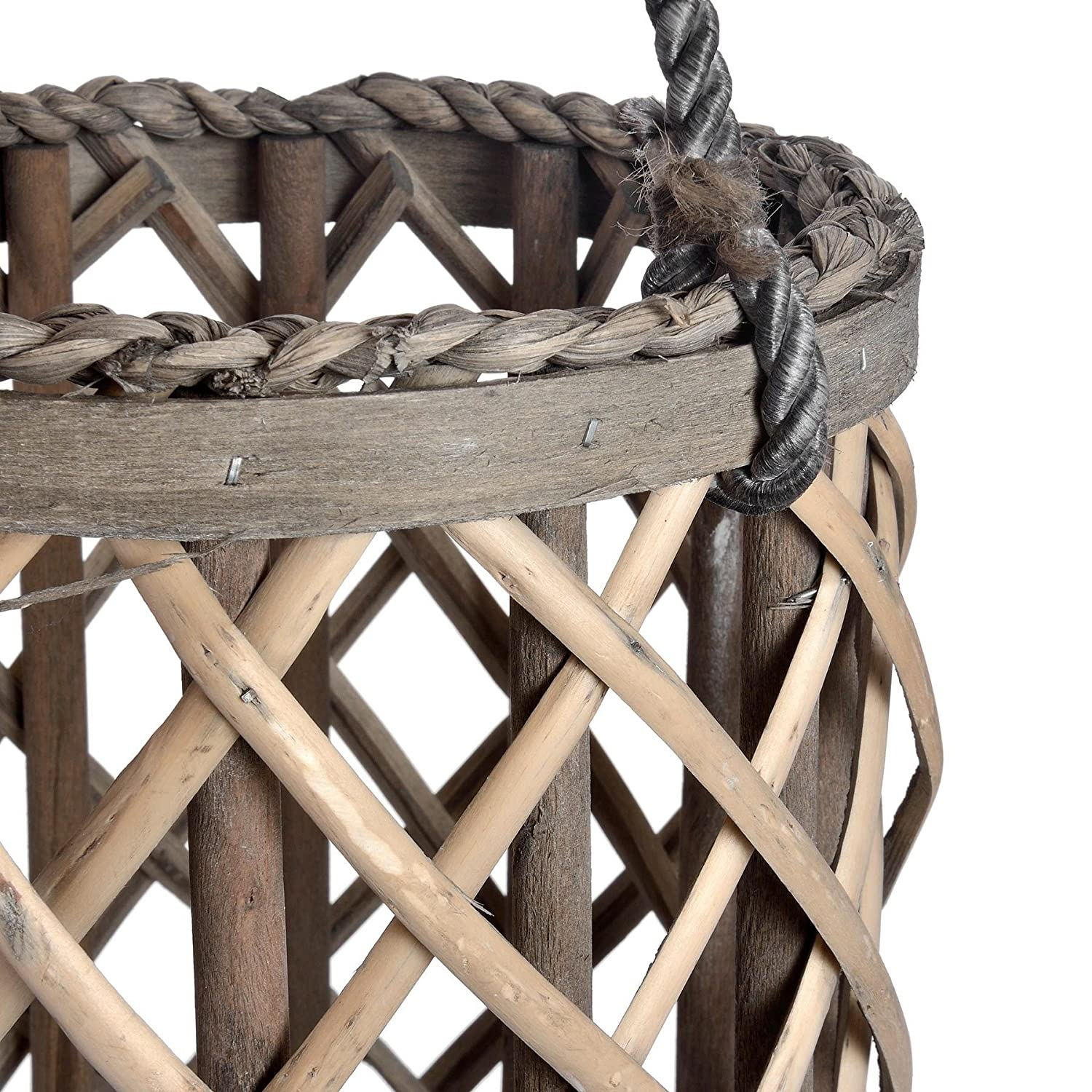 Home Works LARGE WICKER LANTERN WITH GLASS HURRICANE