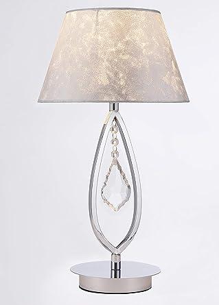Lampara sobremesa habitación | Cromo, cristal y pantalla Plata efecto piel | Ideal para habitación o salón | Admite LED | Elegante, moderna, clásica, ...