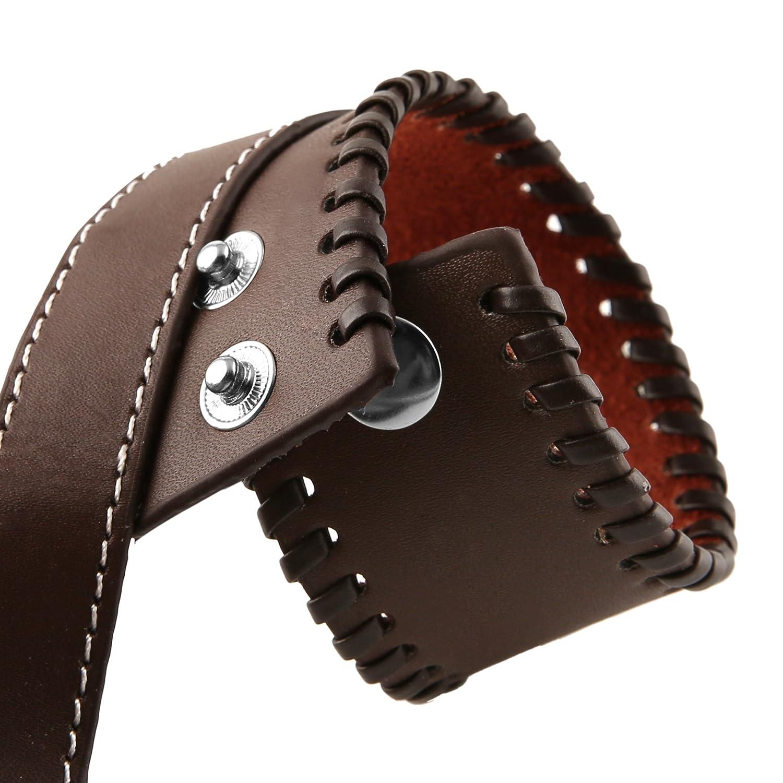 HZMAN Unisex Alloy Genuine Leather Belt Leather Buckle Bracelet Cuff Adjustable