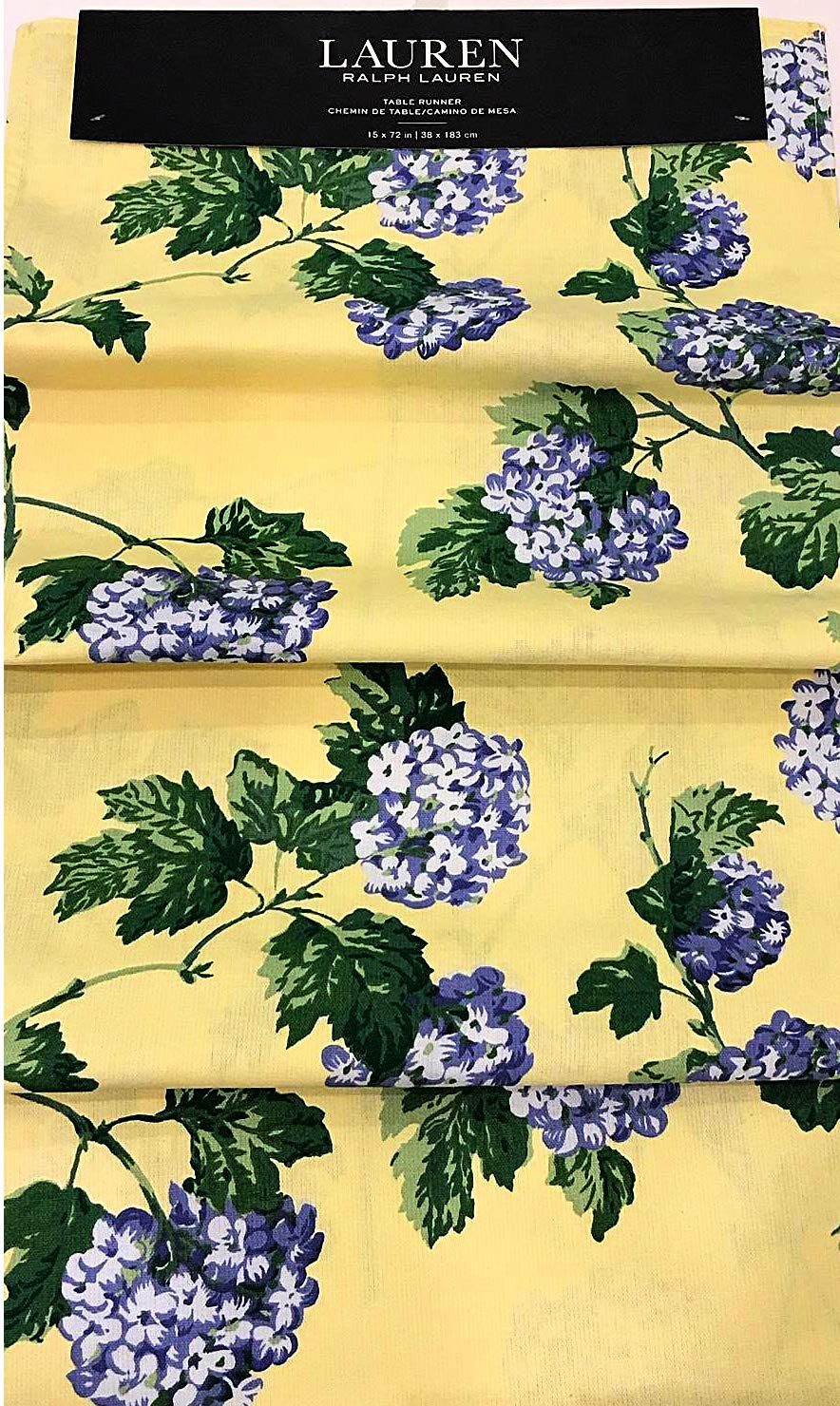 ラルフローレン 春/夏 青紫陽花 黄色テーブルランナーに咲き乱れる花 | 15インチ×72インチ | 綿100%   B07PNYKXMZ