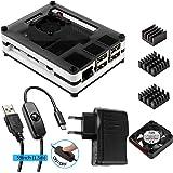 Pour Raspberry Pi 3 Case, avec Mini Ventilateur, Adaptateur USB avec Interrupteur On Off, 3*Dissipateurs Thermiques en Aluminium avec 9 Couches Scatola Compatible avec Pi 3b & 2 Model B