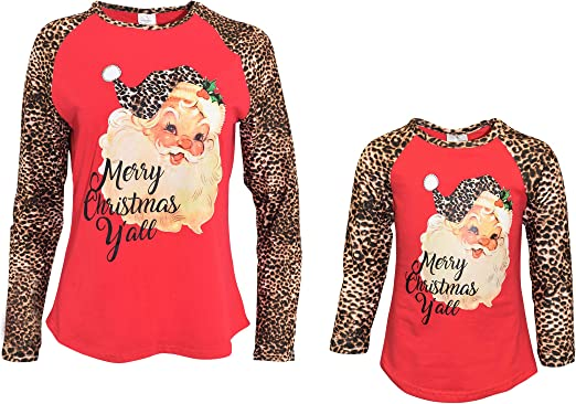 Unique Baby Girls Mommy and Me Leopard Print Santa Shirts