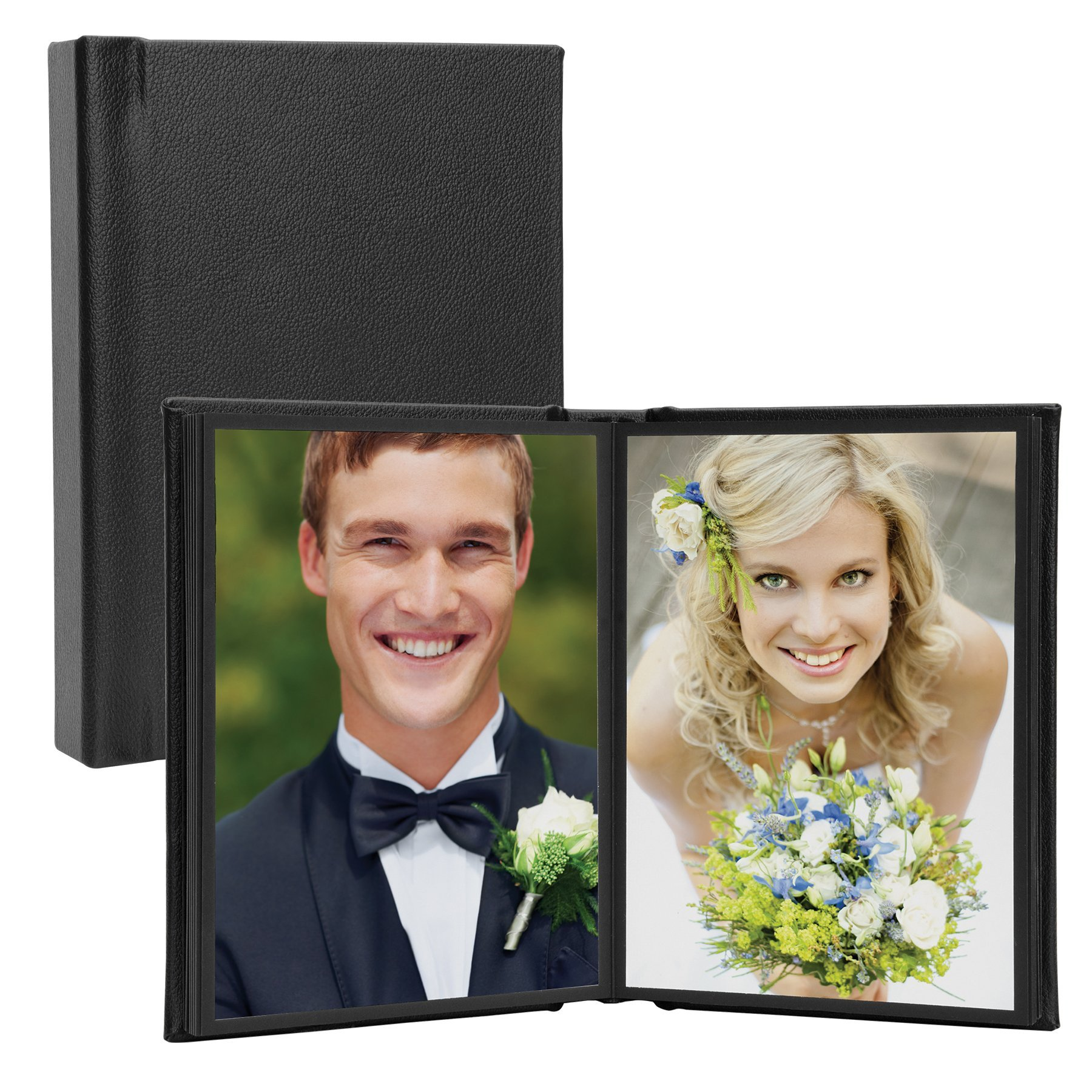 5'' x 7'' Black Vertical Self-Stick Albums - Case of 12