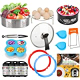 3-Quart-Accessories-Set with Tempered Glass Lid Sealing Rings Compatible with Instant Pot Mini 3, Including Steamer…
