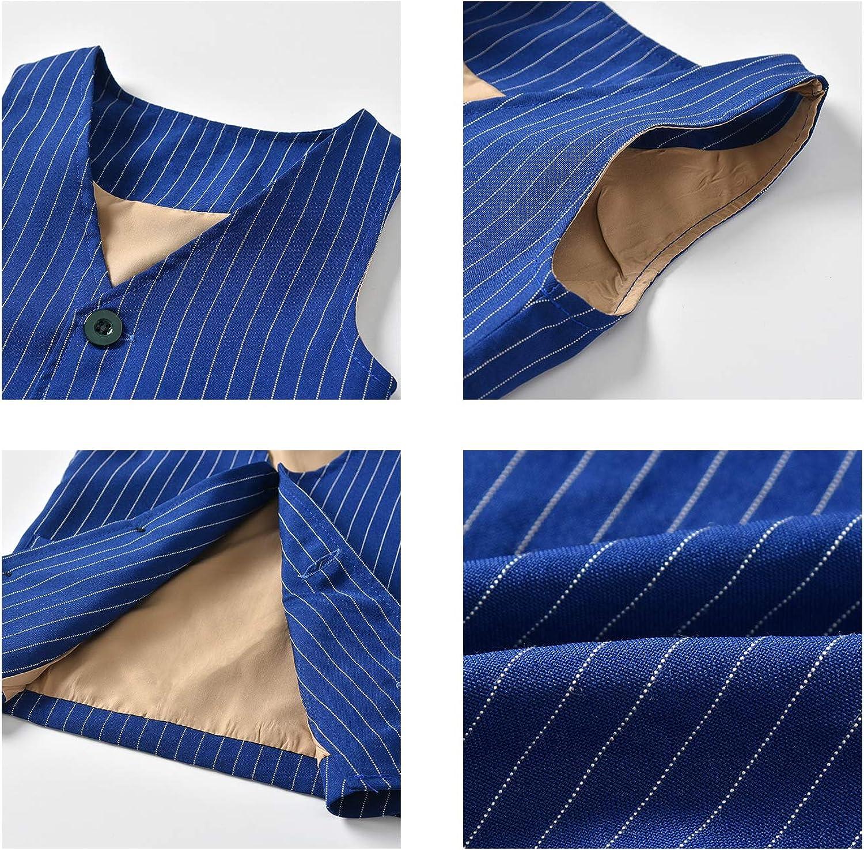 AIKSSOO 3PC Toddler Boy Outfit Set Tuxedo Bowtie Button-Down Shirt+Waistcoat+Pants