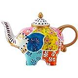 Jameson & Tailor Teekanne aus Porzellan Bone China Design Elefant weiß/bunt Kanne Fassungsvermögen 0,8l