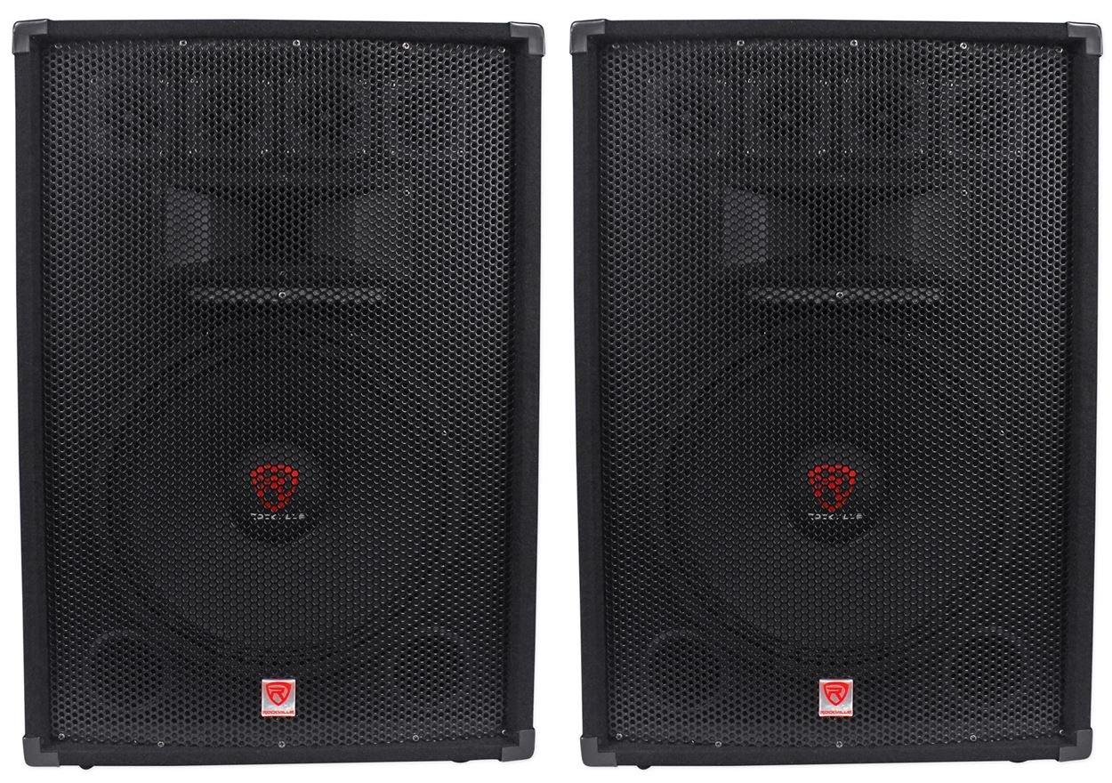 (2) Rockville RSG15.4 15 3-Way 1500 Watt 4-Ohm Passive DJ/Pro Audio PA Speakers by Rockville