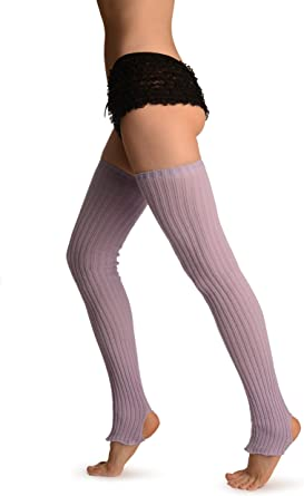 THIGH HIGH BALLERINA  YogaDancer/'s legwarmers hand kranked and finished Single Rib  Lilac light Purple  one size fits all thigh  high