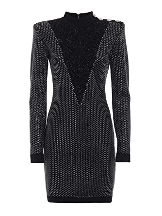 5336b7670a1 Image Unavailable. Image not available for. Color  Balmain Women s  18H153689k162c5127 Silver Black Wool Dress