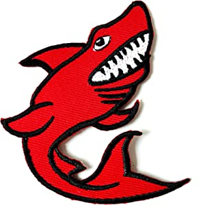 TH Red Shark Patch Biker Motorcycle Embroidered Applique Sew Iron on Patch for Hat Jackets Bags Jeans T-Shirt Backpacks Costume