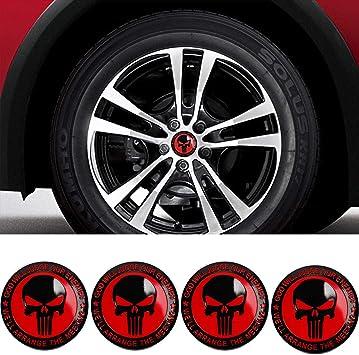 BENZEE 4pcs D133 56.5mm Car Emblem Badge Sticker Wheel Hub Caps Centre Cover SKULL Punisher War Zone