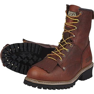9880d58deb1 Amazon.com | Gravel Gear Men's 8in. Logger Boots - Brown, Size 8 ...