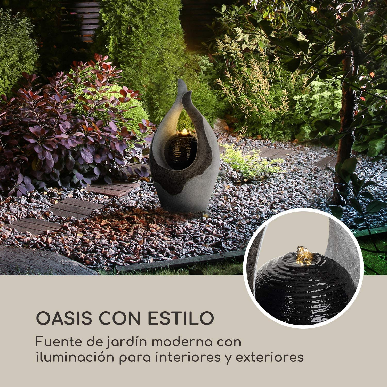 blumfeldt Noblino Fuente de jardín - Iluminación LED, para Dentro y Fuera de casa, 7W, Polirresina, Resistente a Las heladas y a los Rayos UVA, Loopflow, Cable de 10 m, humidificador automático: