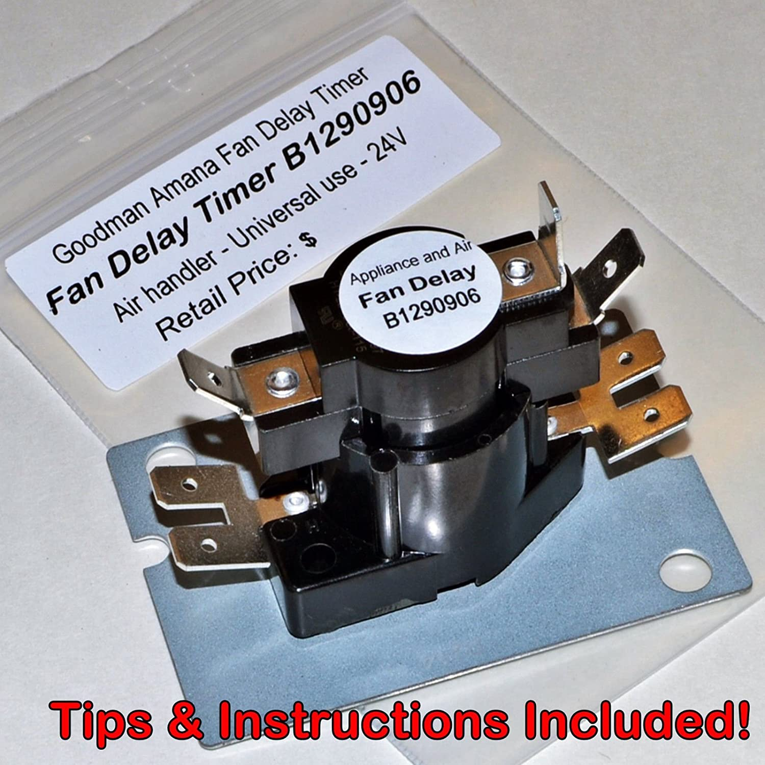 New Fan Blower Time Delay B1290906 24v Goodman Air Handler Relay Circuit Board Conditioner Instructions
