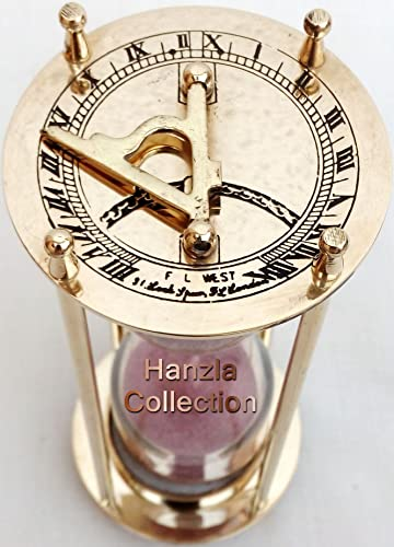 Hanzla Collection Antique Nautical Brass Sundial Clock with 7 Decorative Brass Sand Timer Hourglass