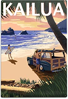product image for Lantern Press Kailua, Hawaii, Woody on Beach (12x18 Aluminum Wall Sign, Wall Decor Ready to Hang)