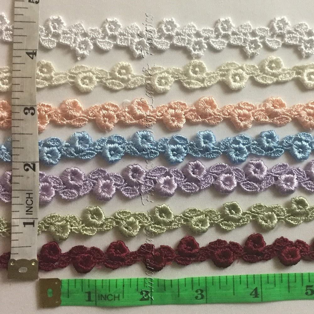 Sage 5//8 of an Inch Alternating Flower and Leaf Venice Lace Trim,9 Colors 5 Yard Lot
