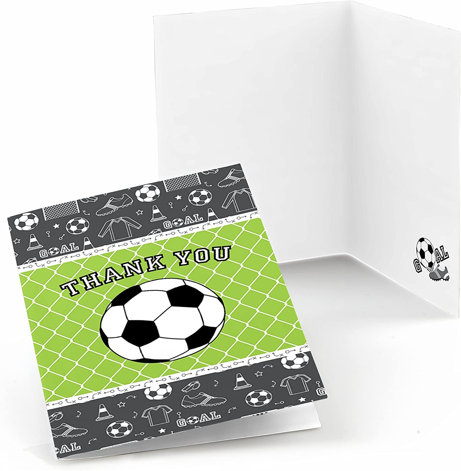 Big Dot of Happiness Goaaal - Soccer - Baby Shower or Birthday Party Thank You Cards (8 Count)