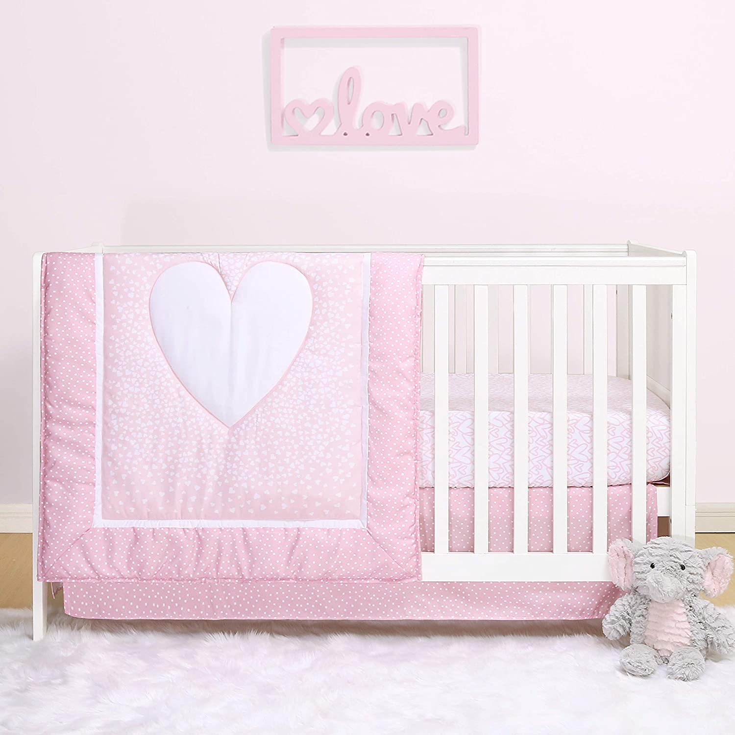 The Peanutshell Hearts Crib Bedding Set for Baby Girls   3 Piece Nursery Set   Baby Quilt, Crib Sheet, and Dust Ruffle