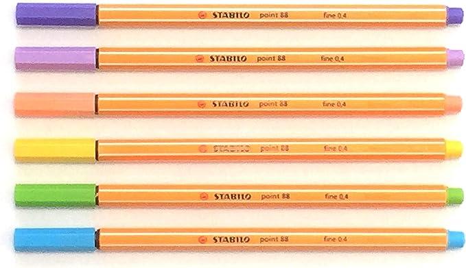 Stabilo POINT88 Punto Fino Pigment Liner - Pastel Juego (Pack de 6 ...