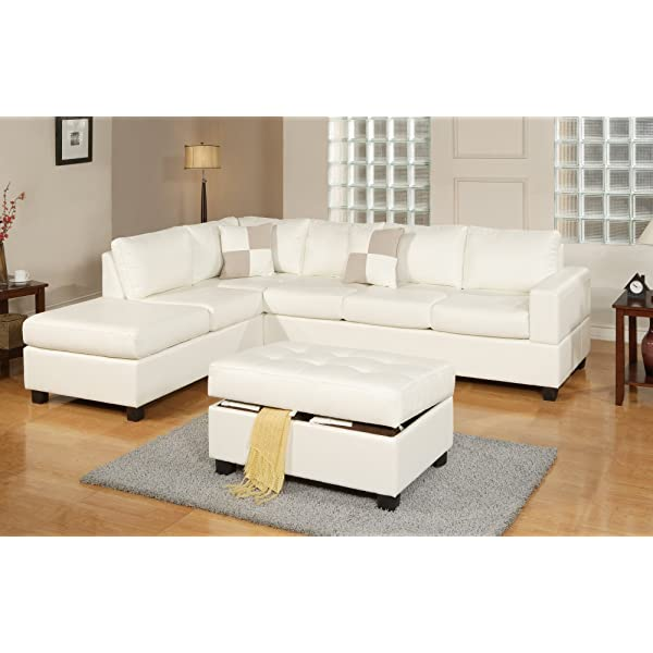 Bobkona Soft-touch Reversible Bonded Leather Match 3-Piece Sectional Sofa Set, White