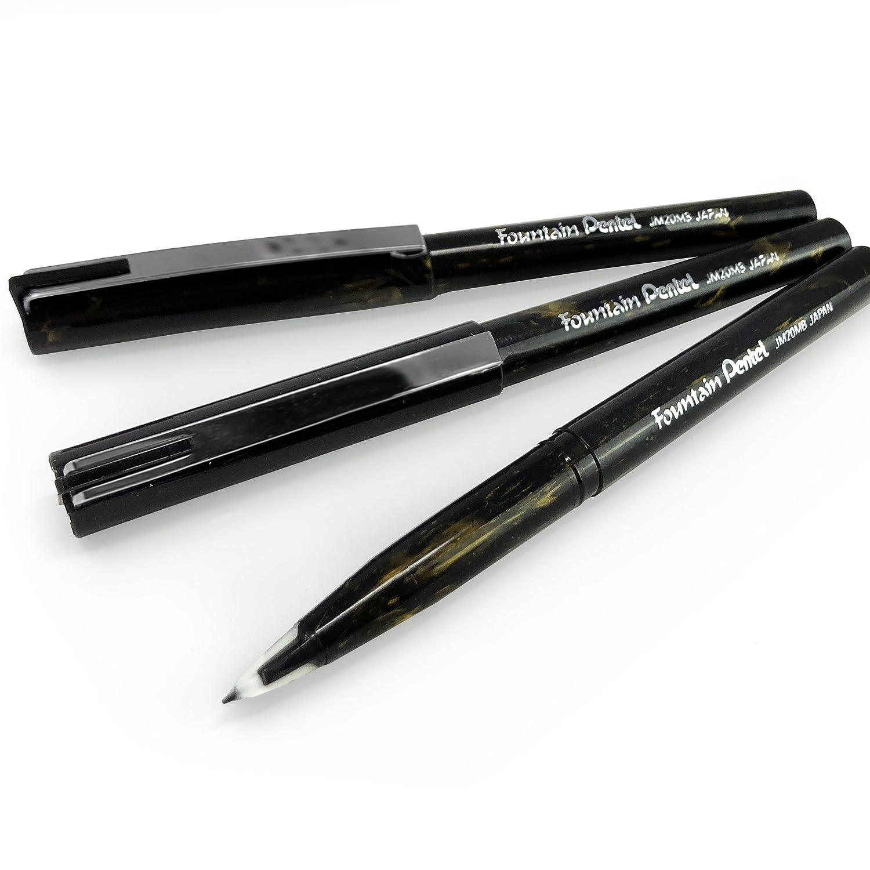 Pentel penna stilografica usa e getta–Marbleized oro e nero barile–Inchiostro nero–Confezione da 3