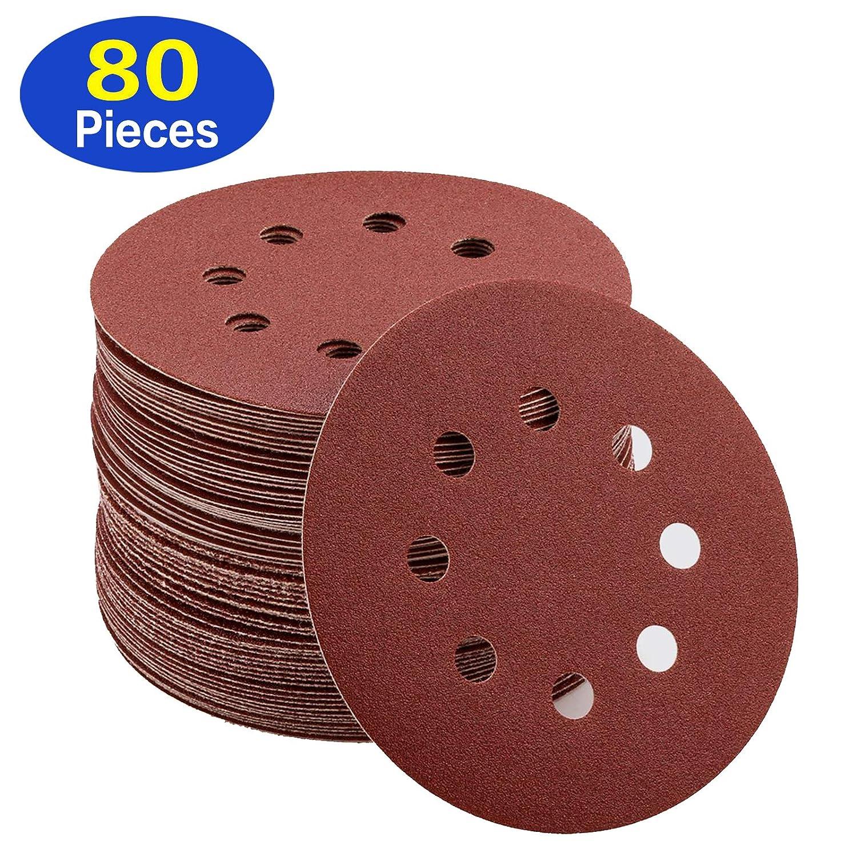 LANHU 5 Inch 8 Holes Sanding Discs 40/80/120/240/320/400/600/800 Grit Hoop and Loop Sandpaper for Random Orbital Sander, Pack of 80