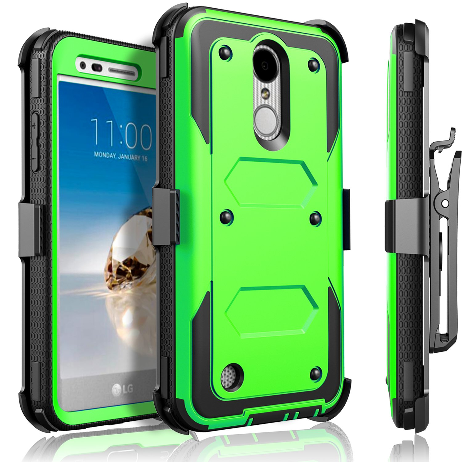 LG Aristo Case, LG Phoenix 3 Case, LG K8 2017 Case, LG Fortune Case, Circlemalls [SUPER GUARD]Dual Layer Protection With [Built-in Screen Protector] Holster Belt Clip + Touch Screen Pen[Green]