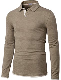 9f5d0afe5090 H2H Mens Casual Slim Fit Polo T-Shirts Long Sleeve Basic Designed of  Various Styles