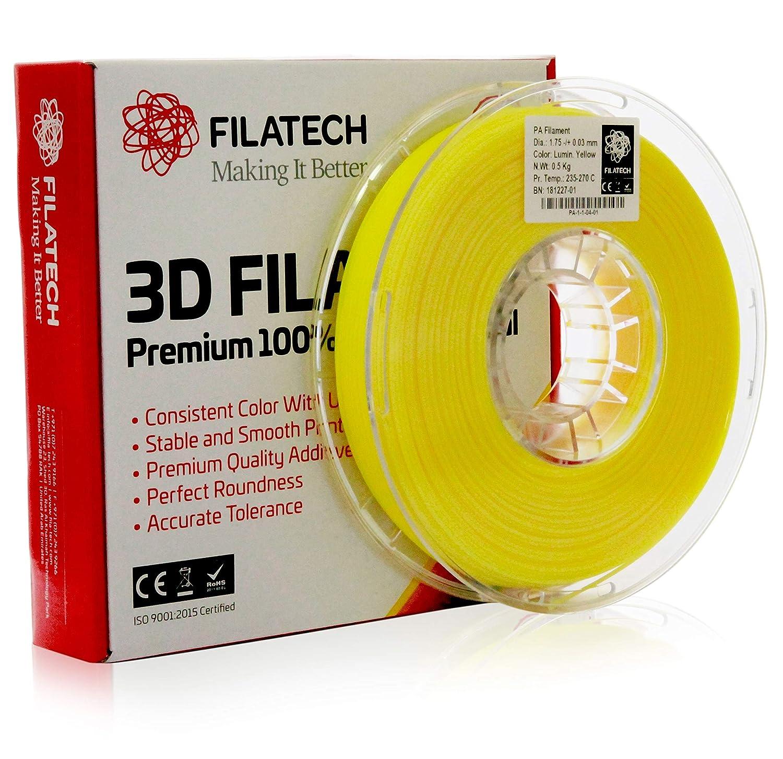 Filatech 3D Printing PA 0.5 Kg Spool Nylon Lumin Yellow 100/% Virgin Material 1.75 mm +//- 0.05 mm Made in UAE Filament