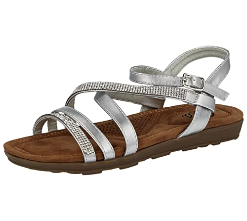 b267a0eb4b60f1 Ella Ladies Diamante Peep Toe Strappy Ankle Buckle Flat Cushioned Insole Summer  Sandals Size 3-