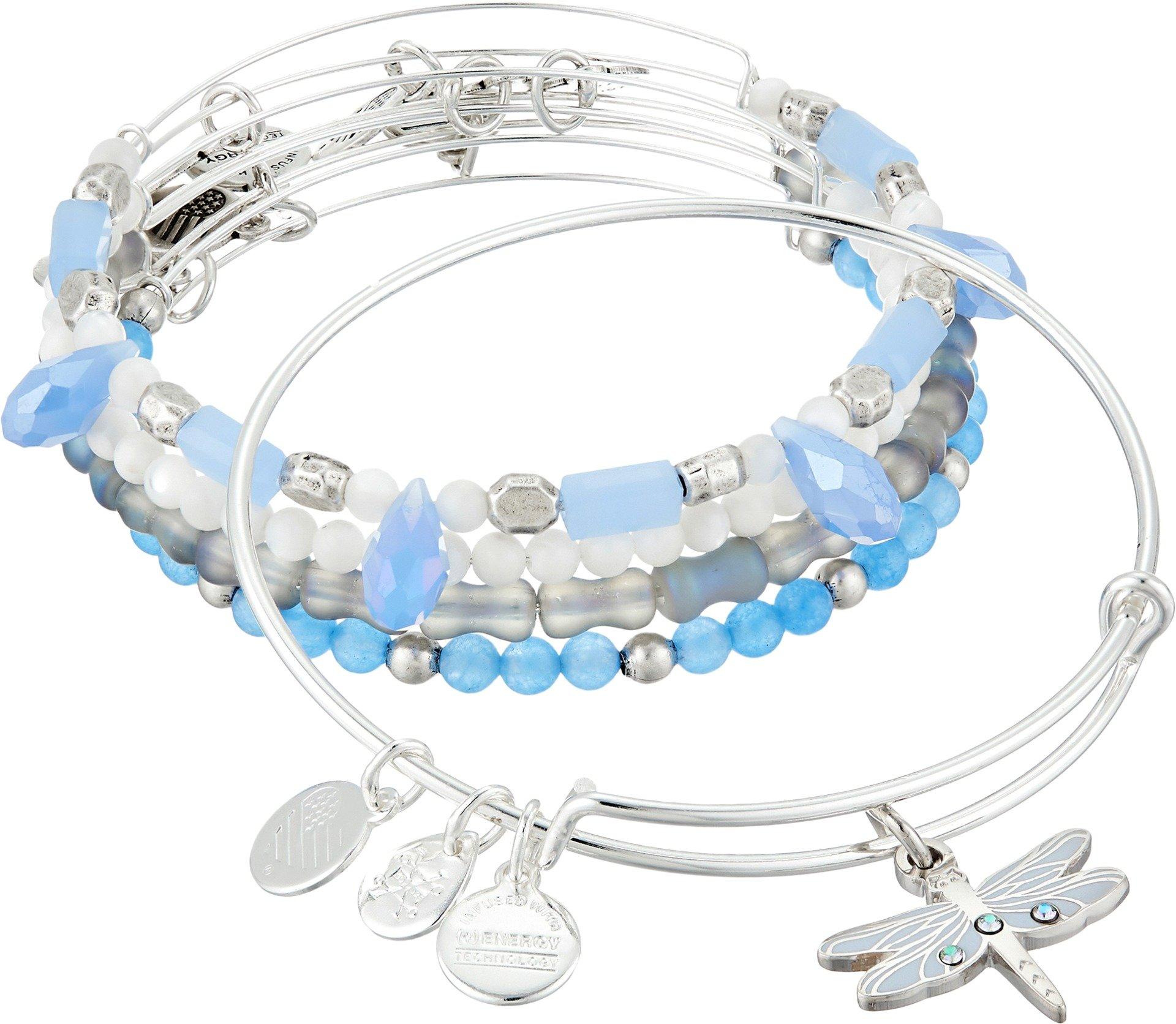 Alex and Ani Dragonfly Set of 5 Rafaelian Silver Bangle Bracelet