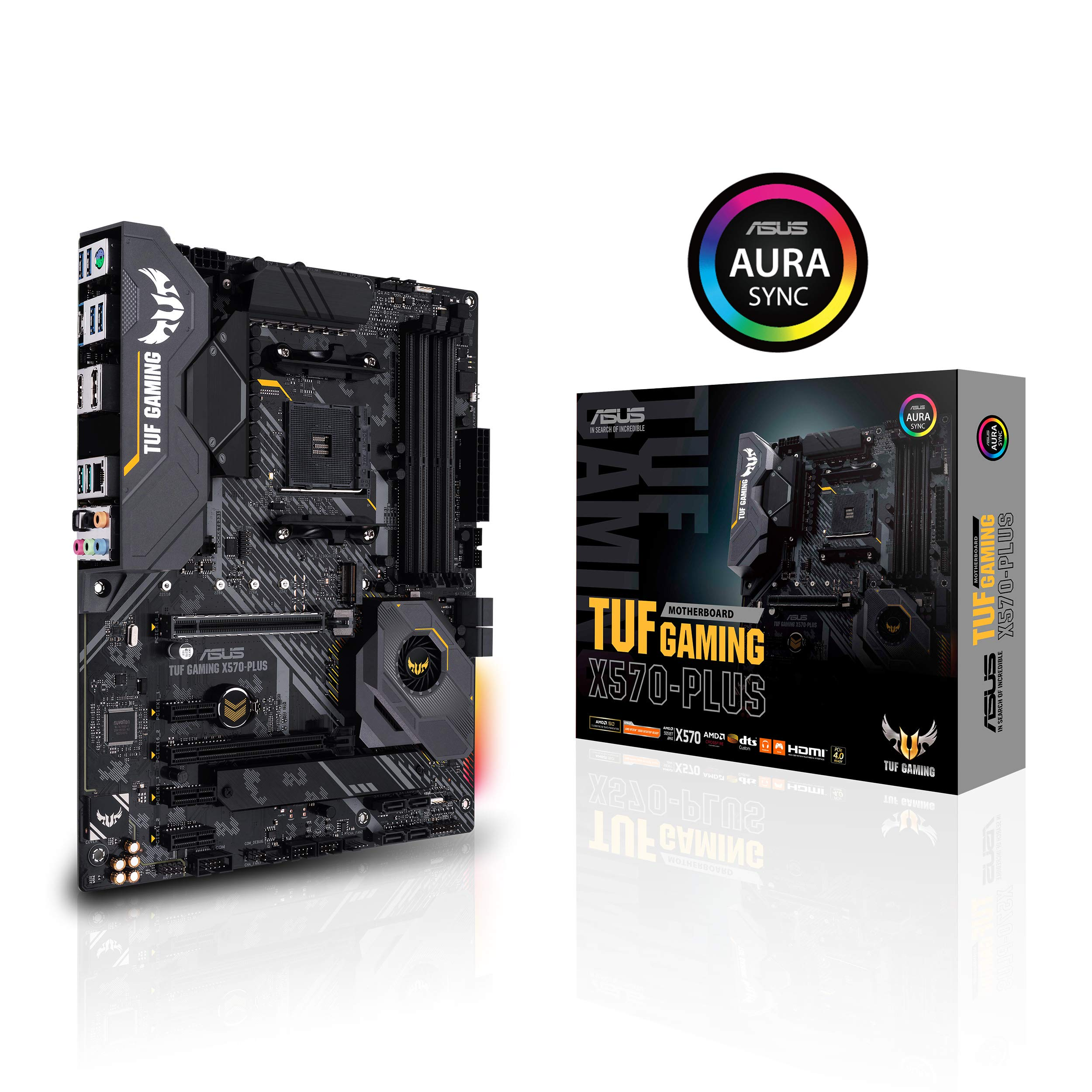 ASUS AM4 TUF Gaming X570-Plus ATX Motherboard with PCIe 4.0, Dual M.2, 12+2 with Dr. MOS Power Stage, HDMI, DP, SATA 6Gb/s, USB 3.2 Gen 2 and Aura Sync RGB Lighting by ASUS