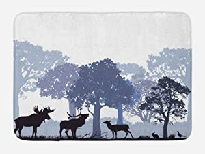 "Ambesonne Moose Bath Mat, Forest Design Abstract Woods North American Wild Animals Deer Hare Elk Trees, Plush Bathroom Decor Mat with Non Slip Backing, 29.5"" X 17.5"", Lilac Blue"