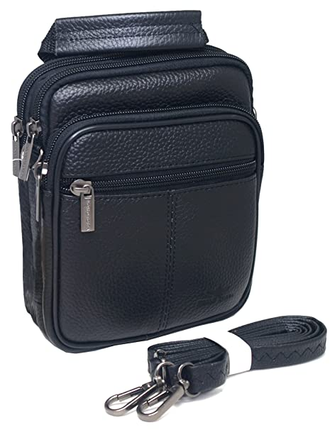 469434a653f6 Amazon.com  Mens Waist Pack Small Messenger Bags Tactical Mobile Phone Pouch  Leather Travel Bags Cases Holsters (Black WK32EN)  Cell Phones   Accessories